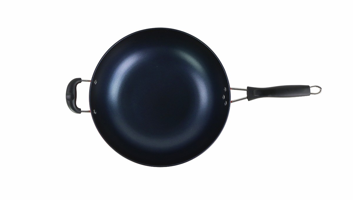 """Casserole Induction Compatible Vitroceramique 13"""" die cast iron wok pan w/ s.s lid"""